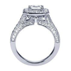 ENGAGEMENT - 1.80cttw Cushion Shaped Halo Diamond Engagement Ring