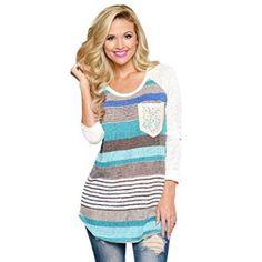 Chemise Femme, Koly Femmes Hauts Stripes Lace Pocket O-Cou Shirt Tops Blouses (XL, Bleu): Tweet Caractéristiques: 100% tout neuf et haute…
