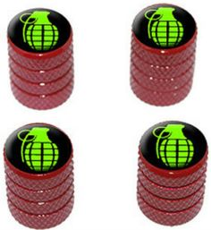 "Amazon.com : (4 Count) Cool and Custom ""Diamond Etching Green Hand Grenade Top with Easy Grip Texture"" Tire Wheel Rim Air Valve Stem Dust Cap Seal Made of Genuine Anodized Aluminum Metal {Bloody Toyota Red and Black Colors - Hard Metal Internal Threads for Easy Application - Rust Proof - Fits For Most Cars, Trucks, SUV, RV, ATV, UTV, Motorcycle, Bicycles} : Sports & Outdoors"