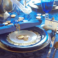 Chanukah Place Setting: Blue table with gold coins