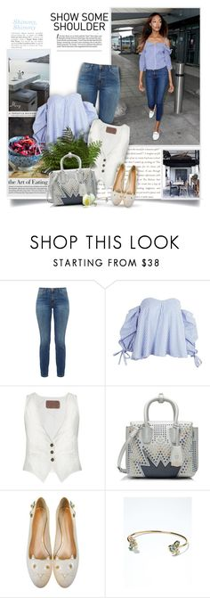 """""""Shimmy, Shimmy: Off-Shoulder Tops"""" by thewondersoffashion ❤ liked on Polyvore featuring Current/Elliott, Rockins, MCM, Charlotte Olympia and Banana Republic"""