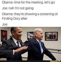 Memes of Joe Biden and Obamas Imagined Trump Prank Conversations Joe And Obama, Obama And Biden, Joe Biden, Funny Cute, Really Funny, Obama Funny, Funny Jokes, Hilarious, Political Memes