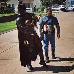Batman and Captain America rescue kitty.