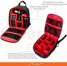 "Amazon.com : Camera Backpack DSLR SLR Camera Bag Video Padded Backpack Waterproof for Nikon, Canon, Sony, Olympus, Samsung, Panasonic, Pentax Cameras (Red) 13.3"" X 9.8"" X 5.1"", $28"