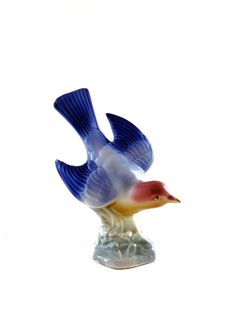 Vintage Pair of Blue Birds Mid Century Bird by HarpersFlea