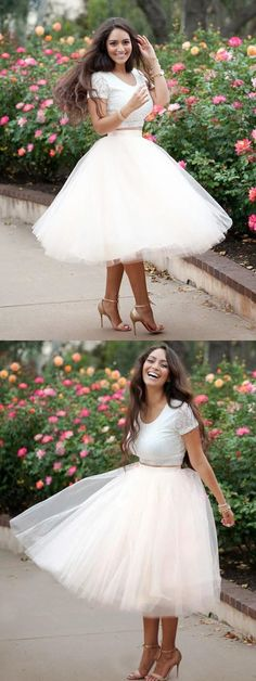Lace Prom Dresses, Prom Dresses Two Piece, Ivory Homecoming Dress, Homecoming Dress For Cheap, Prom Dresses Short Homecoming Dresses 2018 Short Sleeve Prom Dresses, Ivory Prom Dresses, Cheap Prom Dresses, Dresses For Teens, Trendy Dresses, Nice Dresses, Wedding Dresses, Short Sleeves, Party Dresses