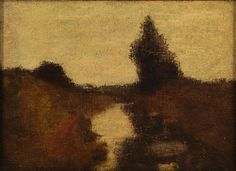 "Untitled landscape, Albert Pinkham Ryder (attributed), ca. 1870, oil on canvas, 9 1/4 x 12 3/4"", New Bedford Whaling Museum."