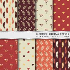 Autumn Digital Paper Brown Paper Pack / INSTANT DOWNLOAD / 8 Fall Digital Papers / Hand Drawn Printable Patterns 085