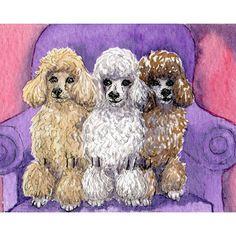 Three Poodles 8x10 art print