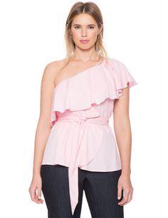 One Shoulder Ruffle Peplum Top from eloquii.com #curvy #springfashion