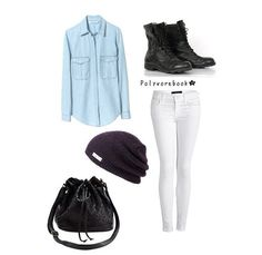 Denim Button Down Top, White Jeans, Purple Beanie, Black Combat boots with Matching Bag <3 from Polyvore