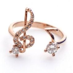 Musical Note and Treble Clef Ring detailed CZ in rose gold love!