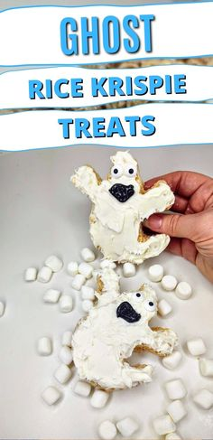 """There's no way anyone will """"Boo"""" these ghoulishly good snacks. This easy, no bake recipe for Ghost Rice Krispie Treats are terrifyingly delicious! #nobakedesserts #easydesserts #ricekrispietreats #halloween Rice Krispie Treats, Rice Krispies, No Bake Desserts, Easy Desserts, Baking Recipes, Snacks, Halloween, Breakfast, Food"""