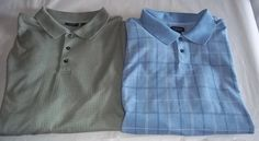 Van Heusen XXL 2 Polo Shirt Lot Blue Plaid Green  #VanHeusen #PoloRugby