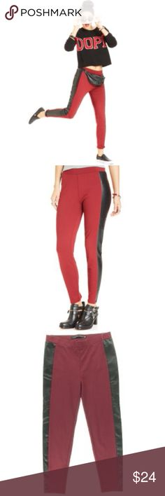 1 DAY SALE Red Ponte Faux Leather Trim Leggings S 1 DAY SALE PRICE IS FIRM   Fun red ponte leggings with black faux leather trim. Pull-on. Rayon / nylon / spandex blend. NWT $49  S Tinseltown Pants Skinny