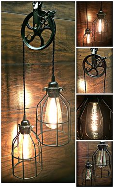 Add rustic charm with this ornate metal pulley light! Lots of vintage character with this light, featuring black wire cage shades over 2 glass Edison bulbs. The pulley has a beautiful black finish, along with a matching black chain and twisted vintage-style wire. The pulley itself is 5 inches wide and 6 inches tall including the metal extension. This light measures 24 inches long from the pulley down to the bottom of the lowest cage. Weve added a 36 inch chain / twisted wire so you can h...