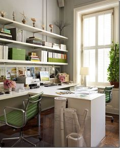 pea green and white work space