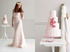 Everything, down to the cake, should match the bride's dress on her big day