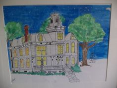 Mansion Midnight Watercolor Painting #Art #Sale