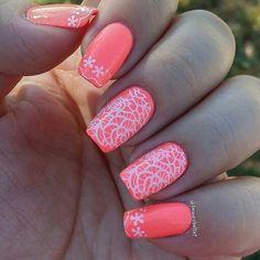 Neon Lace Stamping   #lacenails #stampingnailart