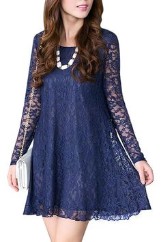Stand out in this crochet lace dress. Featuring crochet lace overlay and long lace sleeves, this A-line dress is perfect to team it with a heels, short necklace and a hand bag.