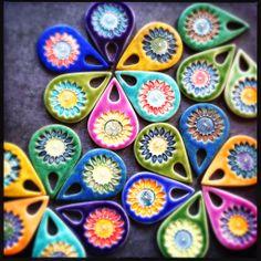Porcelain sunflower pendants by Round Rabbit.