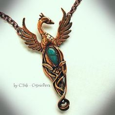 Phoenix Rising From The Ashes Bronze Necklace Pendant with Blue Labradorite Diy Jewelry Necklace, Copper Necklace, Statement Jewelry, Jewelry Shop, Silver Earrings, Beaded Jewelry, Jewelery, Necklaces, Bronze Jewelry