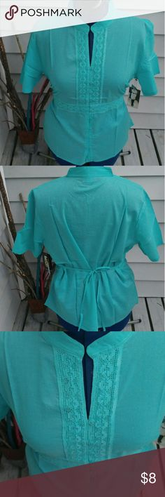 Teal Tunic Tie Teal Linen like Tunic Tie Top 1x 14 2x 16 3x 18  100% cotton Michelle Martin Tops Tunics