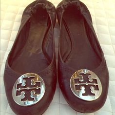 Preloved reva flats - black and silver Preloved reva flats - black and silver. Signs of wear in the front and back but not very noticeable when on. Tory Burch Shoes Flats & Loafers