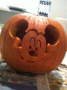Princess pumpkin carving disney pumpkin carving examples for Mickey mouse vampire pumpkin template