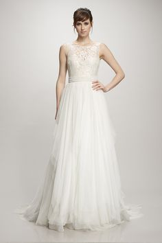Theia French chantilly lace over nude with cascade spanish tulle skirt