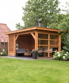 Backyard patio designs - 39 Incredible Backyard Storage Shed Design and Decor Ideas Backyard Gazebo, Backyard Patio Designs, Outdoor Pergola, Outdoor Rooms, Backyard Landscaping, Backyard Retreat, Pergola Kits, Patio Ideas, Landscaping Ideas