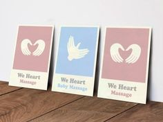 d. Studio branding for We Heart Massage, a massage service for adults and infants.
