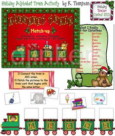 alphabet matching game for Christmas, teacher ideas for Christmas, learning alphabet