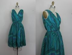 vintage 1950s dress / 50s party dress / teal chiffon dress / sz s small #vlv