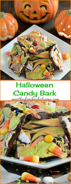 Easy Halloween Candy Bark Recipe - an easy to make Halloween party treat or dessert!
