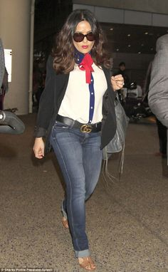 Salma Hayek lands at LAX in red bow-tie blouse and blue jeans Salma Hayek Style, Salma Hayek Body, White Silk Blouse, Blue Blouse, Salma Hayek Young, Blue Jeans, Blue Denim, Hourglass Figure Outfits, Salma Hayek Pictures