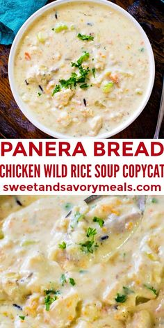 Panera Bread Chicken Wild Rice Soup Copycat is the easy homemade version of the chain's comforting, hearty and creamy soup. Cream Of Chicken Rice, Creamy Chicken Rice Soup, Chicken And Wild Rice, Chicken Soup Recipes, Easy Soup Recipes, Cooking Recipes, Panera Chicken Wild Rice Soup Recipe, Crockpot Chicken Rice Soup, Hearty Chicken Soup