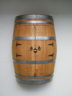 Barrique Weinfass Hängeschrank mit 1 Zwischenboden TOP Qualität Fass verleimt
