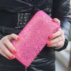 Trendy Openwork and Zip Design Clutch Wallet For Women, PLUM in Women's Wallets | DressLily.com