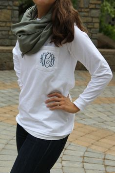 Long Sleeve Monogram Pocket Tee Shirt — Simply Embroidered