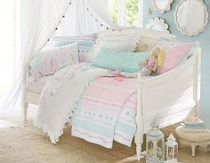 Pastels are pretty all year round with this quilted girls bedding!