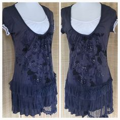 Darling asymmetrical boho tunic, must see! Sz  S/M Super cute with lace and ruffles, this tunic is perfect for the season. Slate blue / grey with sparkles in front. Tag with fabric and care instructions is gone, but it feels like rayon and spandex and has some stretch. White insert front and at sleeves. From a local boutique. S/M Boutique Tops Tunics