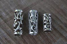 6 Large Hole Mix of Tibetan Silver Hollow DREADLOCK BEADS 8mm Hole DREAD Hair Beads by lyndar85 on Etsy