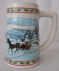 "Miller Beer Christmas stein collectible horse & sleigh 5.75"" limited edition"