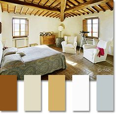 Tuscan color palette: light neutrals on a terra cotta floor in a Tuscan podere, Tuscany, Italy