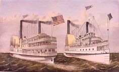 """""""The Grandest Palace Drawing Room Steamers In The World, Drew and St. John, Of the People's Evening Line Between New York & Albany, Passing on the Hudson."""" Drawn by Charles Parsons. Currier And Ives, Bing Images, Taj Mahal, Nostalgia, Louvre, Steamers, Drawing Room, Art Prints, World"""