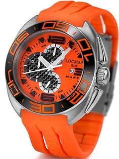 Locman Mens Mare Titanium Water Resistant Watch Orange 138OR