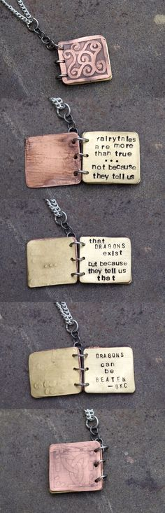 G.K. Chesterton Quote little metal book necklace