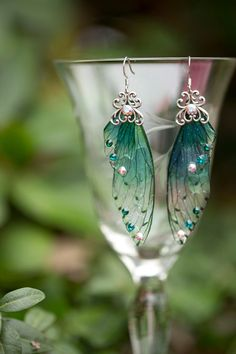 Nyad Fairy Wing Silver earrings by fairystitchfactory on Etsy
